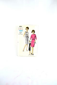 1960s Vintage Vogue Pattern 6814 Misses One Piece Dress size 12 bust 32 on Etsy, $23.15 AUD