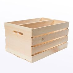 18 in. x 12.5 in. x 9.5 in. Divided Wood Crate (2-Pack), Unfinished Pine