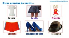 This picture is also part of our video for clothes in Spanish... You can use specific adjectives for clothing patterns and styles in Spanish like SENCILLO, MODERNO, CUADRICULADO, RAYADO and so on, eg. La falda es sencilla. Check the main lesson to see some conversations in Spanish using LA ROPA. Have a nice day!