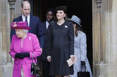 Queen Elizabeth II followed by Prince William, Duke of Cambridge and Catherine, Duchess of Cambridge exit after the Easter Mattins Service at St. George's Chapel at Windsor Castle on April 1, 2018 in Windsor, England.