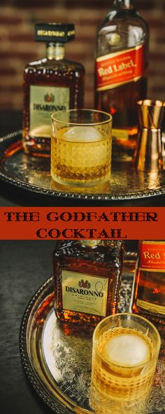 The Godfather: A Whiskey Drink You Can't Refuse! Often made with equal parts Bourbon and Amaretto, this version dials down the sweetness. Whiskey Cocktails, Classic Cocktails, Fun Cocktails, Party Drinks, Cocktail Drinks, Fun Drinks, Yummy Drinks, Cocktail Recipes, Beverages