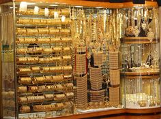 A gold souq.   They are not allowed to sell any gold that isn't at least 18 carat. A bride's dowry is often her rows of gold bangles.