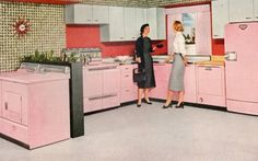 1950s wallpaper and colored cabinets ruled