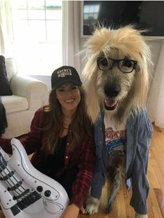 Party time! Excellent! This Wayne and Garth is actually former Miss Delaware Kate Banaszak with her Irish Wolfhound Kellan
