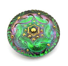 Large New Czech Pressed Glass Button starflower by TheBeadedBead, $12.50