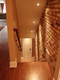 Brick wall down lighting