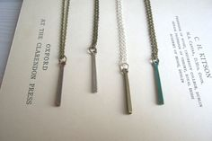 Simplicity little bar necklace - mixed metal charms - handmade
