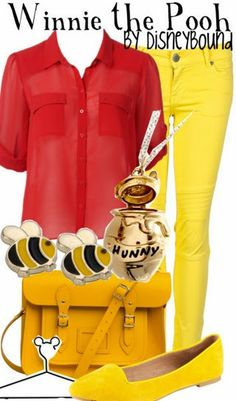 Disney Bound: Winnie the Pooh from Winnie the Pooh; Back to School Outfit Disney Themed Outfits, Disneyland Outfits, Disney Bound Outfits, Disney Dresses, Disney Clothes, Disneyland Trip, Disney Cute, Disney Style, Disney Ears