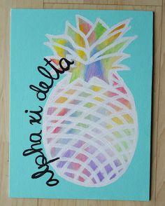 Custom Sorority Pineapple Canvas by stuffByNisha on Etsy