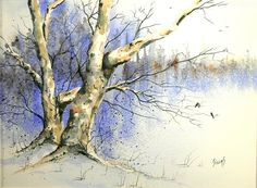 Winter Tree With Birds Painting by Sam Sidders - Winter Tree With Birds Fine Art Prints and Posters for Sale