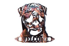 Rottweiler Welcome Sign - CAN BE CUSTOMIZED! by VulcanixArt on Etsy