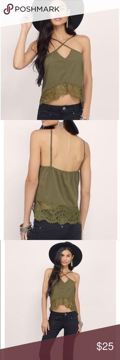 NWOT satin and lace tank Beautiful olive green satin and lace tank. Perfect for any event. Can dress up or dress down. New without tags! Tobi Tops Tank Tops