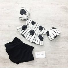 baby girl set summer outfit black white off the shoulder top shorts set vintage outfit baby girl outfit toddler set baby girl gift Baby Girl Fashion, Toddler Fashion, Kids Fashion, Fashion Hats, Dress Fashion, Style Fashion, Fashion Outfits, Baby Bikini, Baby Clothes Patterns