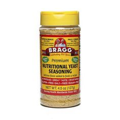 Certified organic Bragg® Nutritional Yeast Seasoning provides a yummy cheese-like flavor and lots of nutritional value when sprinkled on a wide variety of foods and recipes. Use it as a flavorful, low sodium, cholesterol-free addition to salads, dips, soups, vegetables, potatoes, rice, pasta—even popcorn!