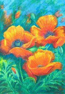 oil pastel on black paper | Marion's Floral Art Blog