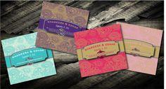 Classic Elegant Paisley Indian Wedding Invitation Cards - Pocketfold Wedding Invitations - Indian Wedding Crads