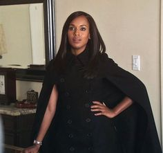 Kerry Washington wearing black double breasted cape trench coat