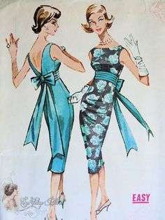 1950s Magnetic Empire Slim Cocktail Party Dress Pattern Bateau Neckline Deep V Back Flirty Back Bow Stunning Design Easy To Sew McCalls 4780...