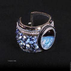 """Купить Браслет """"Индиго"""" - синий, браслет широкий, крупный браслет, стильный браслет"""