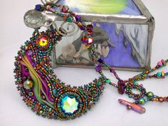 'Cantios' Shibori silk, intage Swarovski, seed beads, art beads, quartz