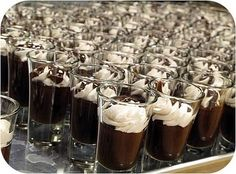 Easy Chocolate Mousse.     1 pkg. (8 oz.) cream cheese  1/2 c. Hershey's cocoa  1 c. confectioners' sugar  1 1/2 tsp. vanilla  2 c. heavy or whipping cream    Beat cream cheese and cocoa in large mixer bowl until fluffy and well blended. Gradually add confectioners' sugar; blend well. Stir in vanilla. Whip cream until stiff; fold into cheese mixture. Pour; chill until firm.