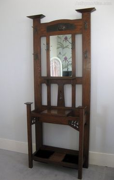 Antique Hallstands, Arts And Crafts Hallstand By Harris Lebus. Arts and Crafts hallstand by Harris Lebus in oak with stylised cut outs secessionist style hooks and copper galleon. Arts And Crafts Furniture, Diy Arts And Crafts, Entry Furniture, Home Furniture, Antique Coat Rack, Craftsman Style Furniture, Victorian Furniture, Antique Furniture, Hall Stand