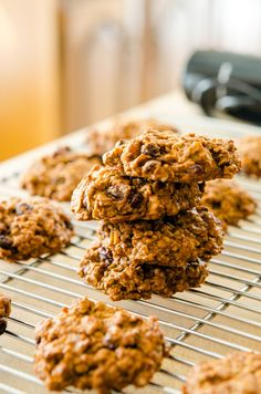 Persimmon Oatmeal Cookies- coming out of the oven now- i used dates and pecans in the blender in place of the raisins and walnuts it called for! YUMA YUMA!