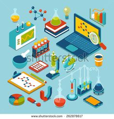 #isometric #vector #flat #research object - #Laptop, #formula,  #chemical…