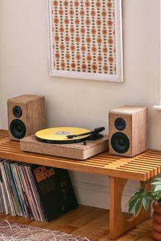 Victrola Hampton Wood And Linen Bluetooth Record Player Record Player Speakers, Record Player Table, Vinyl Record Player, Vinyl Record Storage, Record Table, Record Shelf, Vinyl Record Stand, Vinyl Record Display, Record Cabinet