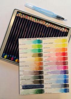 Inktense pencils and water brush for art journaling- TabascoCatArt.com