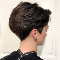 Classy Brunette Pixie with Back-Swept Layers