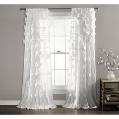 Lush Decor Riley Curtain Sheer Ruffled Textured Bow Window Panel for Living, Dining Room, Bedroom (Single) 95 Purple Curtains, White Curtains, Drapes Curtains, Bedroom Curtains, Bedroom Decor, Rustic Curtains, Country Curtains, Bedroom Windows, Bedroom Modern