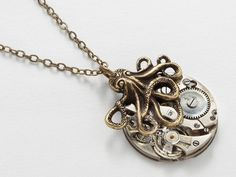 Steampunk Necklace vintage silver watch movement gold octopus | Etsy Steampunk Rings, Steampunk Necklace, Steampunk Octopus, Steampunk Watch, Victorian Jewelry, Neo Victorian, Victorian Steampunk, Watch Necklace, Pendant Necklace