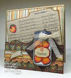 Our Daily Bread Designs, Recipe Card and Tag Dies, Canning Jars Dies, Peaches, Recipe Card Lines, Blue Ribbon Winner, Grace Nywening