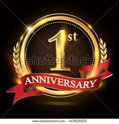 1st golden anniversary logo, with shiny ring and red ribbon, laurel wreath isolated on black background, vector design for birthday celebration.