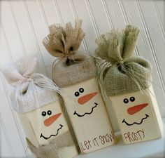 "Wooden Snowmen Size: 8""-12"" tall You will sand, paint, create a face, hat, and scarf for three little snowmen! All supplies provided.       ..."