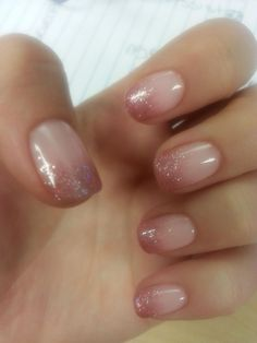 "Dainty pink gel ombre nails! -  ""I Theodora You"" as the opaque base and then ""Ju..."