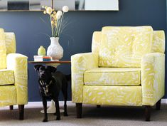 navy and yellow, patterned chair