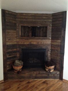 diy pallet fireplace surround - Google Search | Projects for Don ...