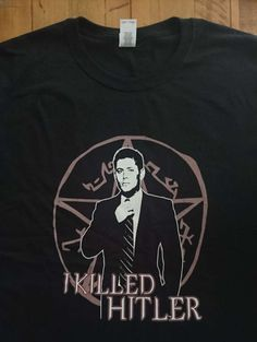 Supernatural I Killed Hitler Dean Winchester Tshirt, Hunters, Winchester Brothers, Geek Gift, Geek Tshirt, Chevy Impala, Castiel, Crowley Dean killed Hitler - that deserves some pie ! :) Do you LOVE Supernatural? Then we have more related designs here! >>>>> https://www.etsy.com/shop/IWGCustoms/search?search_query=supernatural&search_type=user_shop_ttt_id_12534208&ref=auto2&as_prefix=supernatural&explicit_scope&#x3D...