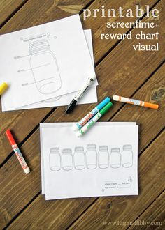 free printable! screen time and visual reward chart with a tip for laminating with an iron! | tag&tibby