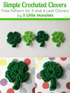 Super Simple Crocheted Clovers Free Pattern for a Simple Crocheted 3 or 4 Leaf Clover from 5 Little Monsters Love Crochet, Crochet Motif, Crochet Crafts, Crochet Yarn, Yarn Crafts, Simple Crochet, Diy Crafts, Crochet Leaves, Crochet Flowers