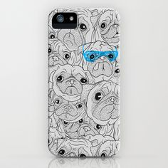 Dog standing out from the doggy crowd with cool blue glasses iPhone 5/5s cover $35.00