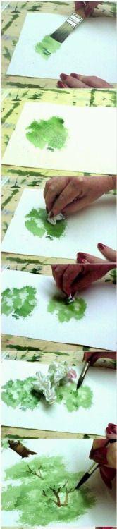 tuto pour dessiner un arbre à l'aquarelle