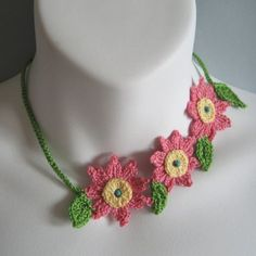 Floral Crochet Necklace Choker with Pink Coral Flowers by KnittingGuru