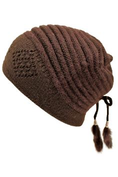 Angora Blend Knit Beanie Cap Hat With Tassels