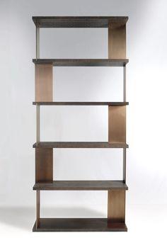 "Custom Edizioni bookcase 50"" x14"" x 114""H, in dark brown cerused and french bronze patina  http://www.robicara.com/gallerycat/casegoods/"