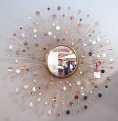 "Art Decor Constellation Mirror from Boulton Design (46""d) in antiqued brass"