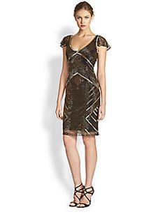 Theia - Metallic Beaded Cocktail Dress