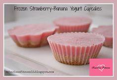 Frozen Strawberry-Banana Yogurt Cupcakes - Samantha Kreisle #healthydessert #cleandessert #yummy